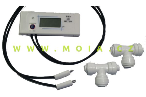 "Dvojitý inline monitor-konuktometr EC 1/4"" konektor 0-999 us/cm"